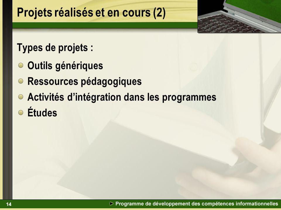 14 Projets réalisés et en cours (2) Types de projets : Outils génériques Ressources pédagogiques Activités dintégration dans les programmes Études