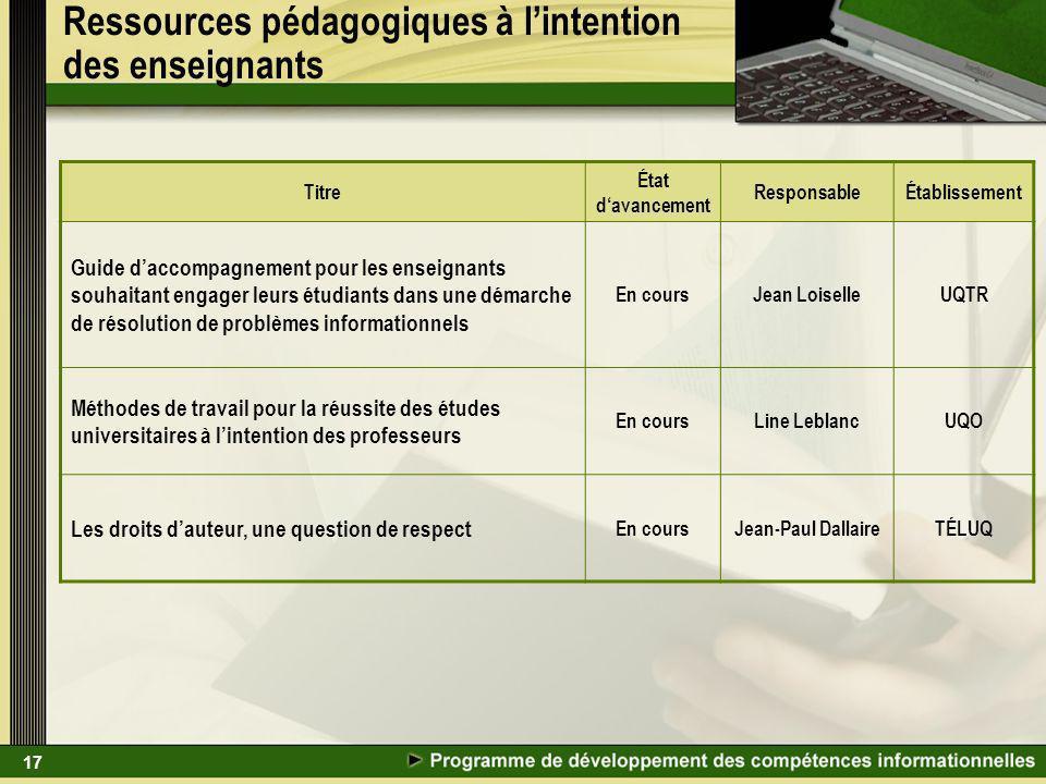 17 Ressources pédagogiques à lintention des enseignants Titre État davancement ResponsableÉtablissement Guide daccompagnement pour les enseignants sou