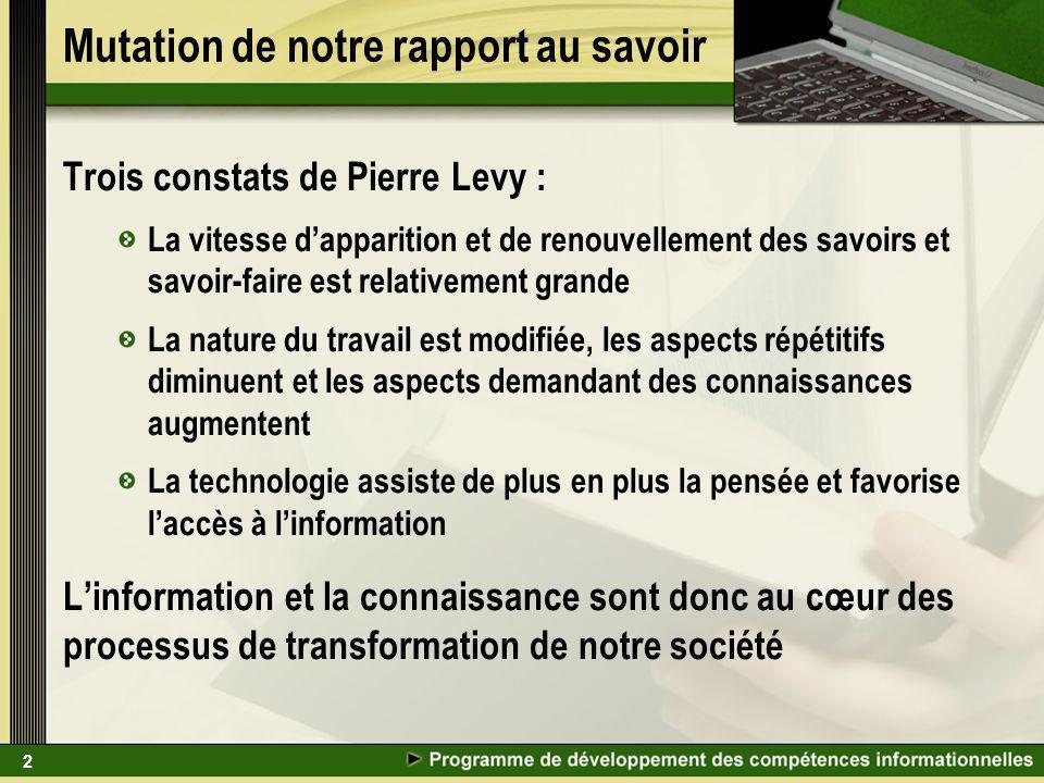 2 Mutation de notre rapport au savoir Trois constats de Pierre Levy : La vitesse dapparition et de renouvellement des savoirs et savoir-faire est rela