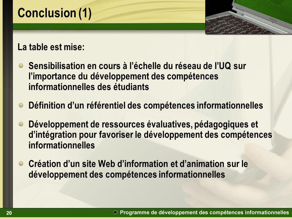 20 Conclusion (1) La table est mise: Sensibilisation en cours à léchelle du réseau de lUQ sur limportance du développement des compétences information