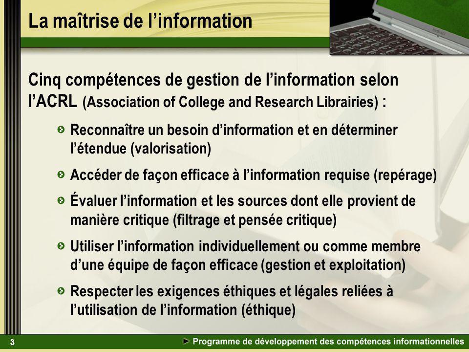 3 La maîtrise de linformation Cinq compétences de gestion de linformation selon lACRL (Association of College and Research Librairies) : Reconnaître u