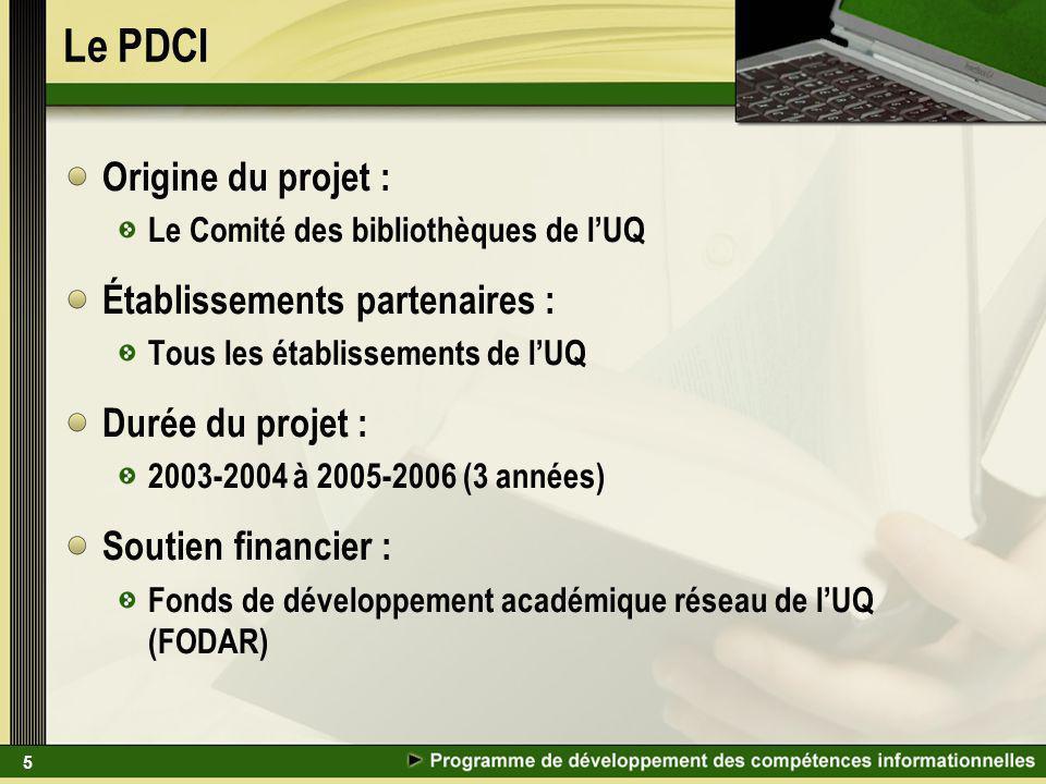 5 Le PDCI Origine du projet : Le Comité des bibliothèques de lUQ Établissements partenaires : Tous les établissements de lUQ Durée du projet : 2003-2004 à 2005-2006 (3 années) Soutien financier : Fonds de développement académique réseau de lUQ (FODAR)