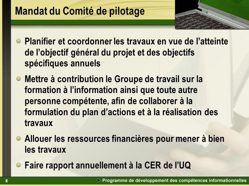 8 Mandat du Comité de pilotage Planifier et coordonner les travaux en vue de latteinte de lobjectif général du projet et des objectifs spécifiques ann
