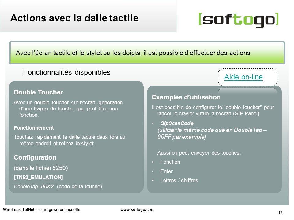 13 WireLess TelNet – configuration usuelle www.softogo.com Avec lécran tactile et le stylet ou les doigts, il est possible deffectuer des actions Acti