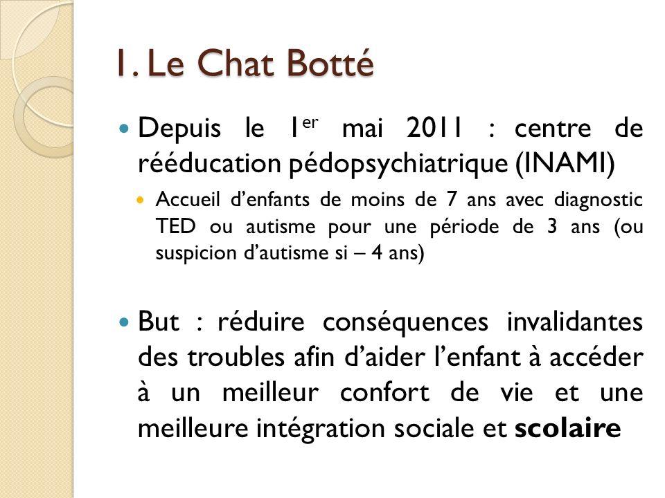 1. Le Chat Botté Depuis le 1 er mai 2011 : centre de rééducation pédopsychiatrique (INAMI) Accueil denfants de moins de 7 ans avec diagnostic TED ou a