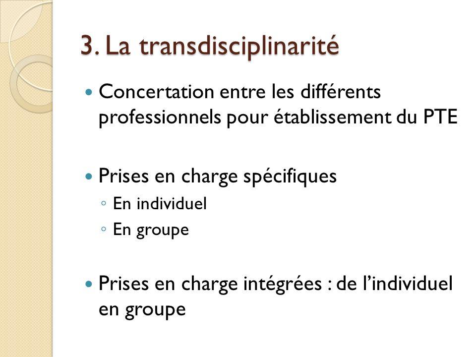 3. La transdisciplinarité Concertation entre les différents professionnels pour établissement du PTE Prises en charge spécifiques En individuel En gro