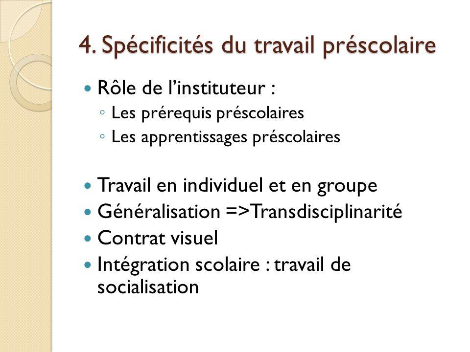 4. Spécificités du travail préscolaire Rôle de linstituteur : Les prérequis préscolaires Les apprentissages préscolaires Travail en individuel et en g