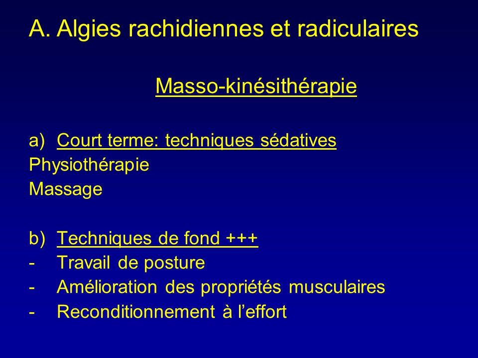 A.Algies rachidiennes et radiculaires Masso-kinésithérapie a)Court terme: techniques sédatives Physiothérapie Massage b)Techniques de fond +++ -Travai