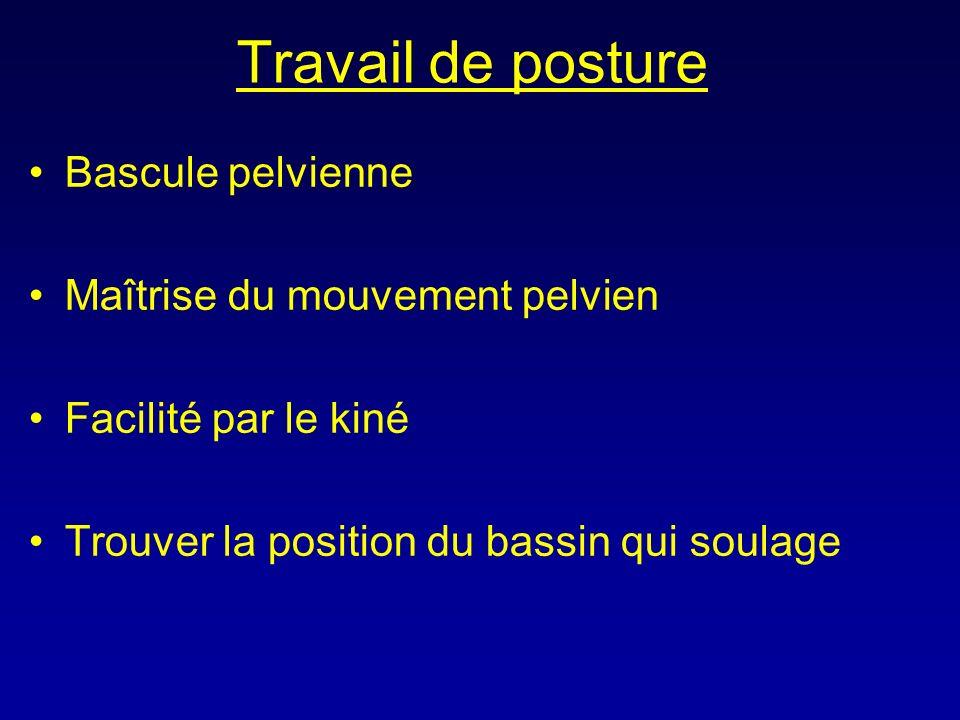 Travail de posture Bascule pelvienne Maîtrise du mouvement pelvien Facilité par le kiné Trouver la position du bassin qui soulage