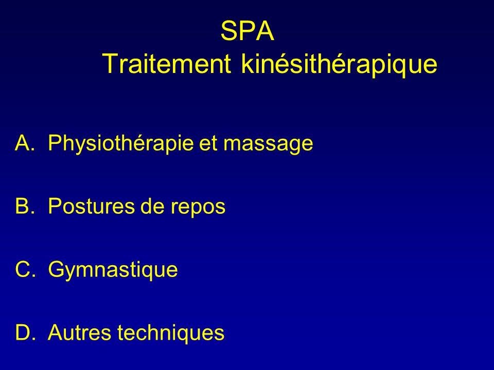 SPA Traitement kinésithérapique A.Physiothérapie et massage B.Postures de repos C.Gymnastique D.Autres techniques
