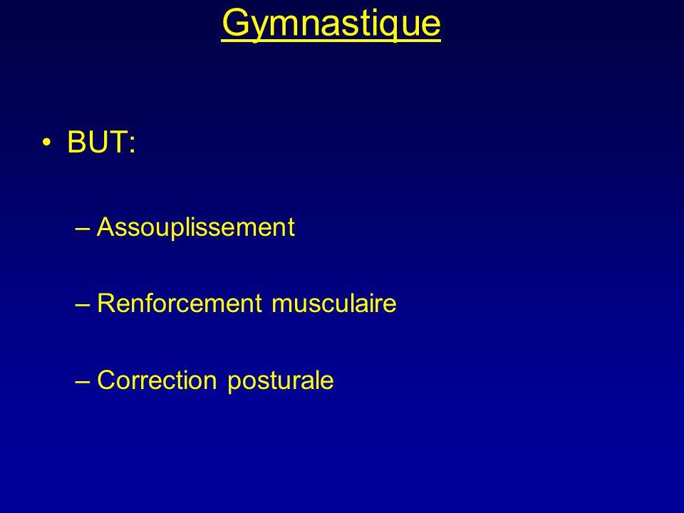 Gymnastique BUT: –Assouplissement –Renforcement musculaire –Correction posturale