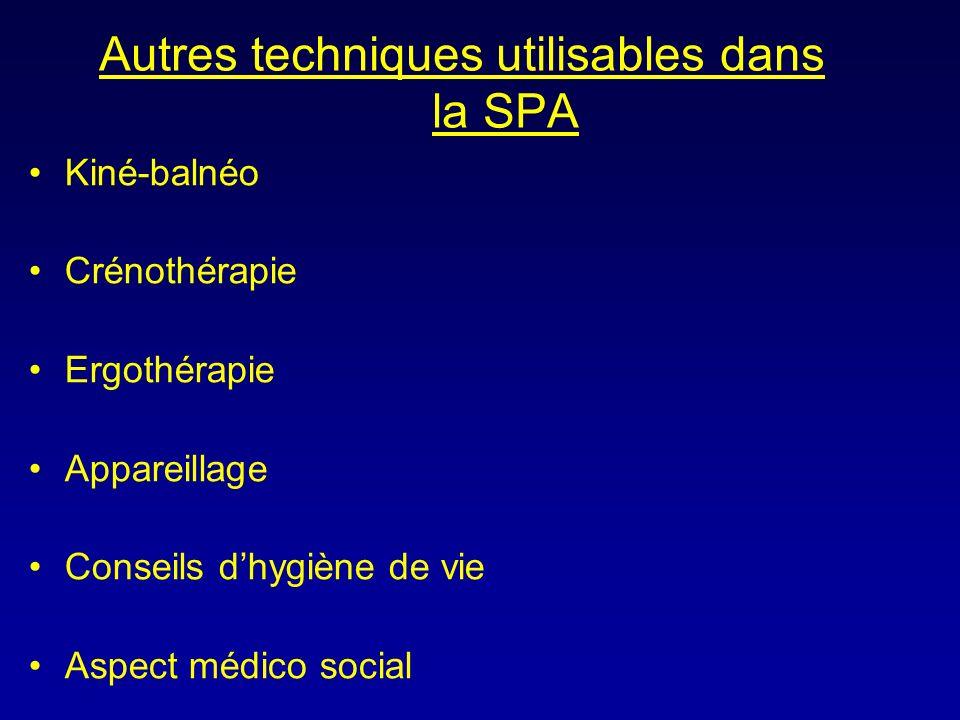 Autres techniques utilisables dans la SPA Kiné-balnéo Crénothérapie Ergothérapie Appareillage Conseils dhygiène de vie Aspect médico social