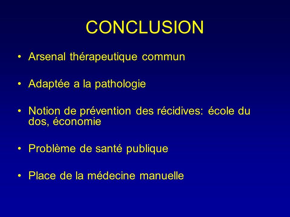 CONCLUSION Arsenal thérapeutique commun Adaptée a la pathologie Notion de prévention des récidives: école du dos, économie Problème de santé publique