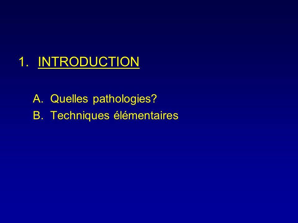 1.INTRODUCTION A.Quelles pathologies? B.Techniques élémentaires