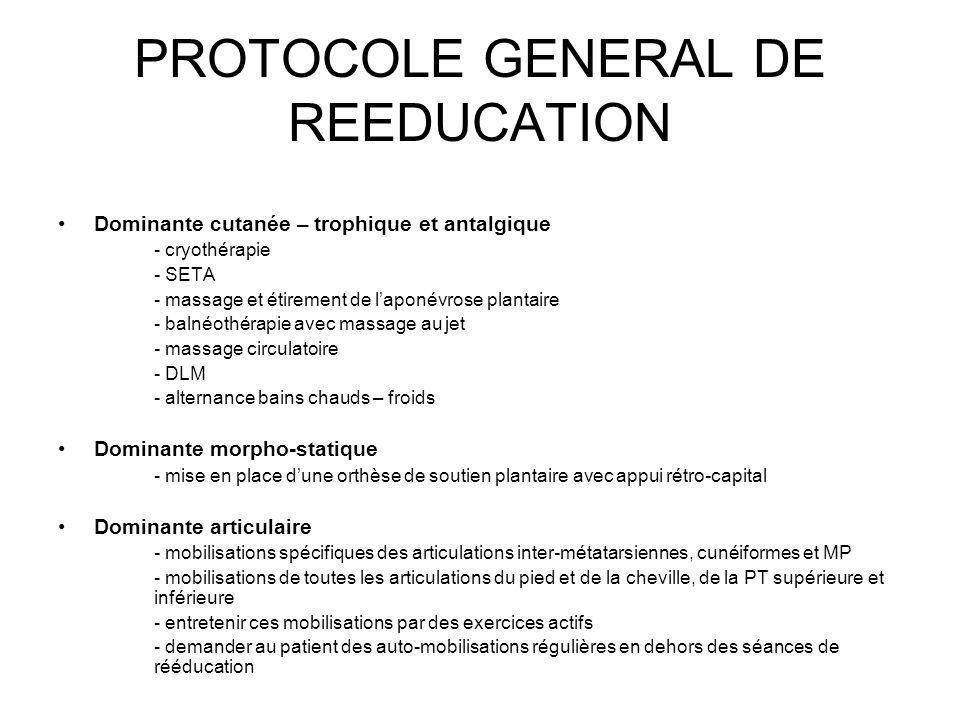 PROTOCOLE GENERAL DE REEDUCATION Dominante cutanée – trophique et antalgique - cryothérapie - SETA - massage et étirement de laponévrose plantaire - b