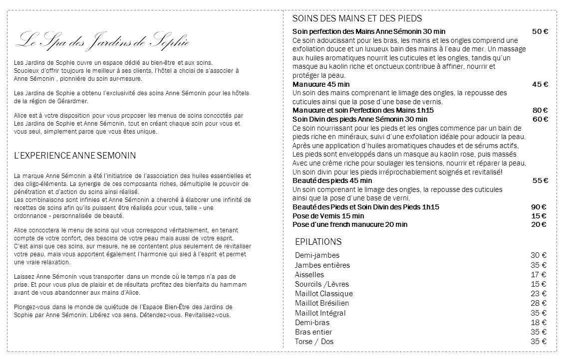 Les expériences exclusives COLLECTION SOINS CORPS ANNE SÉMONIN Ces massages sur mesure associent des techniques Anne Sémonin classiques et des mélanges personnalisés de complexes intensifs et dhuiles végétales chaudes.