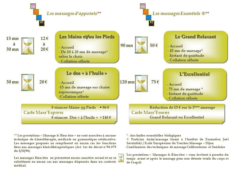 90 mn 50 Le Grand Relaxant - Accueil - 45 mn de massage* - Instant de quiétude - Collation offerte Le Grand Relaxant - Accueil - 45 mn de massage* - I