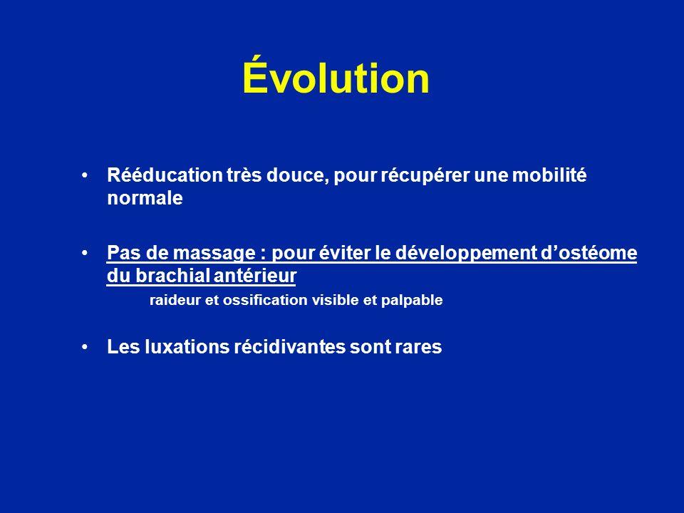 Évolution Rééducation très douce, pour récupérer une mobilité normale Pas de massage : pour éviter le développement dostéome du brachial antérieur rai