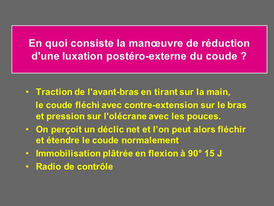 En quoi consiste la manœuvre de réduction d'une luxation postéro-externe du coude ? Traction de l'avant-bras en tirant sur la main, le coude fléchi av