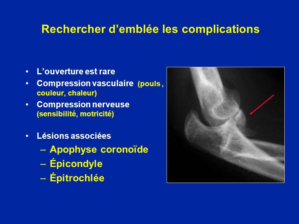Rechercher demblée les complications Louverture est rare Compression vasculaire (pouls, couleur, chaleur) Compression nerveuse (sensibilité, motricité
