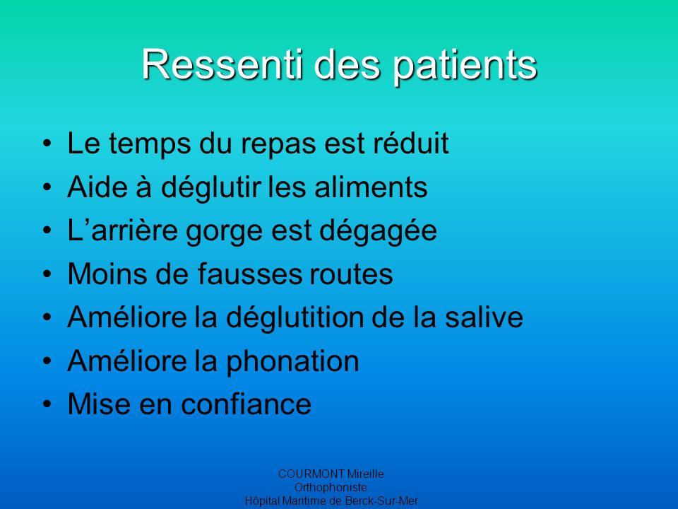 COURMONT Mireille Orthophoniste Hôpital Maritime de Berck-Sur-Mer Ressenti des patients Le temps du repas est réduit Aide à déglutir les aliments Larr