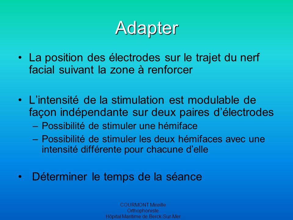 COURMONT Mireille Orthophoniste Hôpital Maritime de Berck-Sur-Mer Adapter La position des électrodes sur le trajet du nerf facial suivant la zone à re