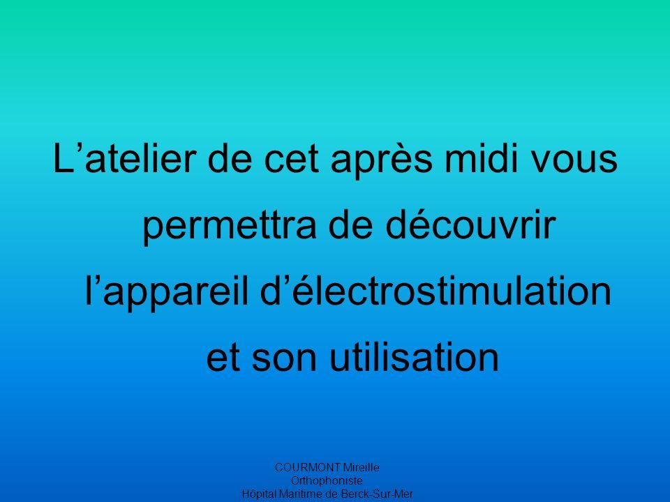 COURMONT Mireille Orthophoniste Hôpital Maritime de Berck-Sur-Mer Latelier de cet après midi vous permettra de découvrir lappareil délectrostimulation et son utilisation
