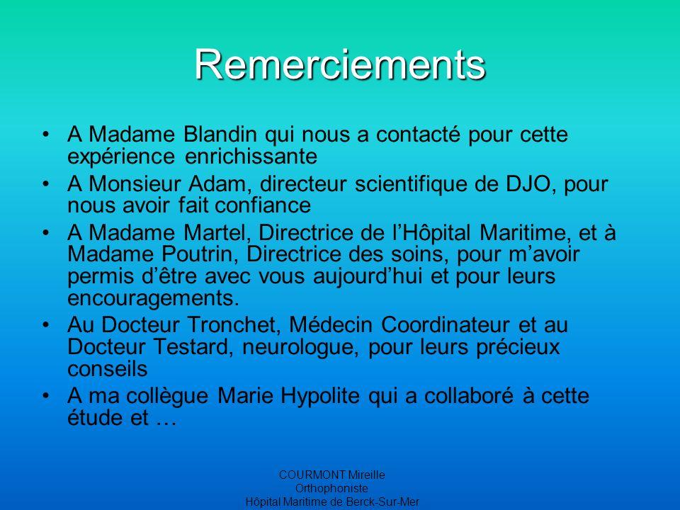 COURMONT Mireille Orthophoniste Hôpital Maritime de Berck-Sur-Mer Remerciements A Madame Blandin qui nous a contacté pour cette expérience enrichissan