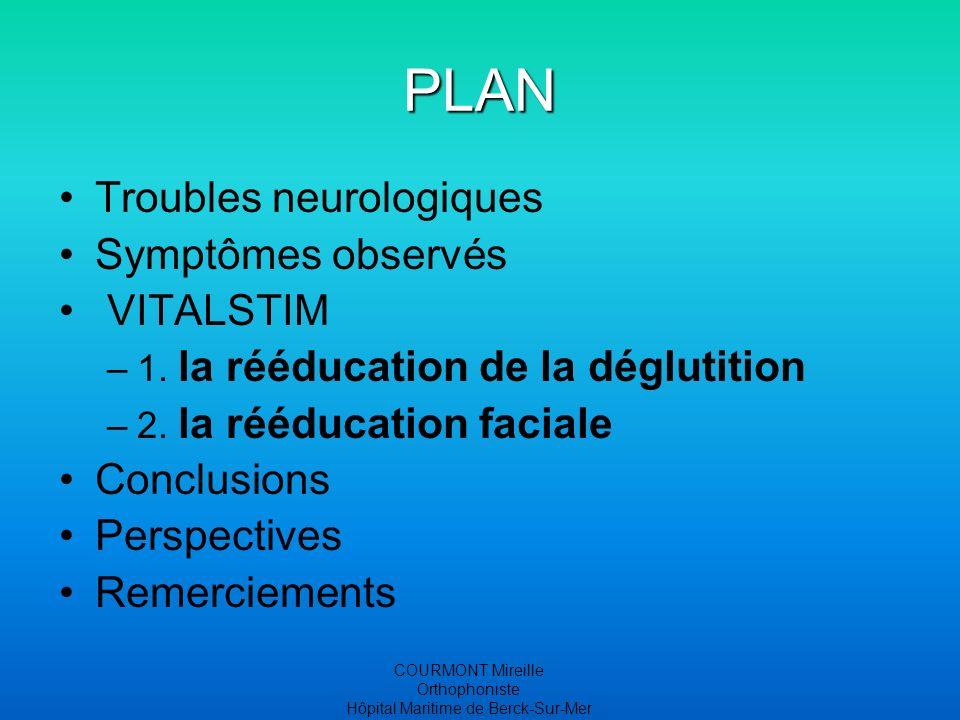 COURMONT Mireille Orthophoniste Hôpital Maritime de Berck-Sur-Mer PLAN Troubles neurologiques Symptômes observés VITALSTIM –1.