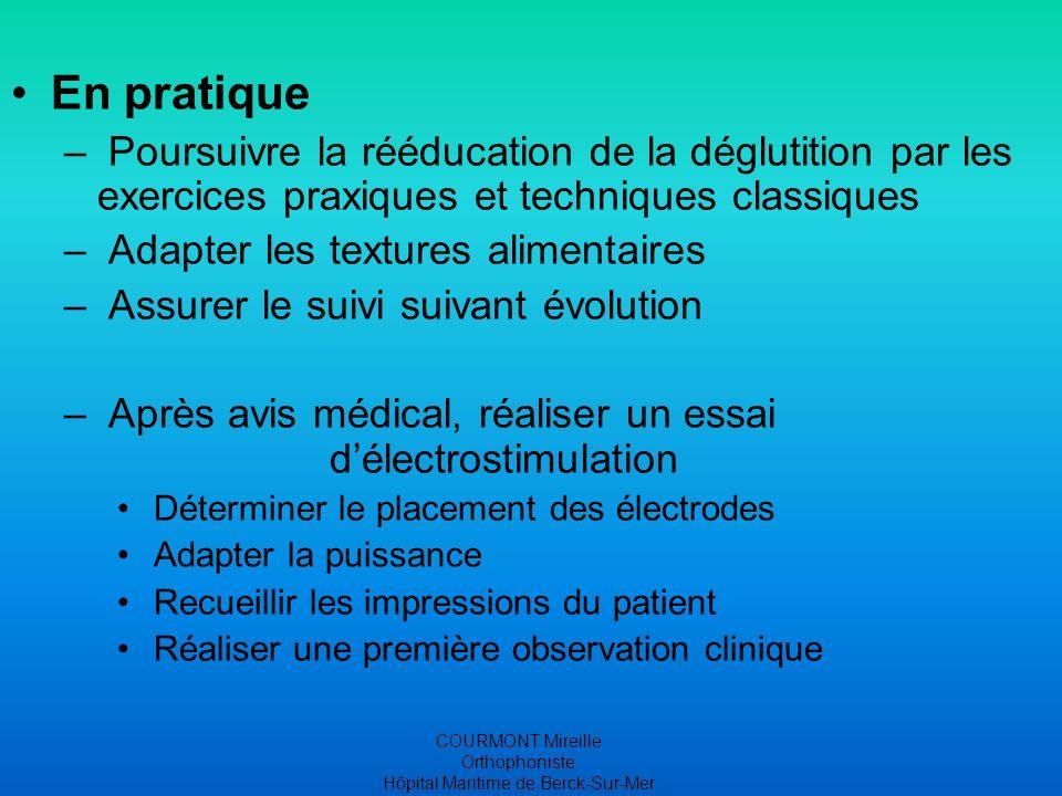 COURMONT Mireille Orthophoniste Hôpital Maritime de Berck-Sur-Mer Ressenti des patients Reprise sensitive Reprise motrice de la sphère orale La parole est plus fluide « Mon visage revit »