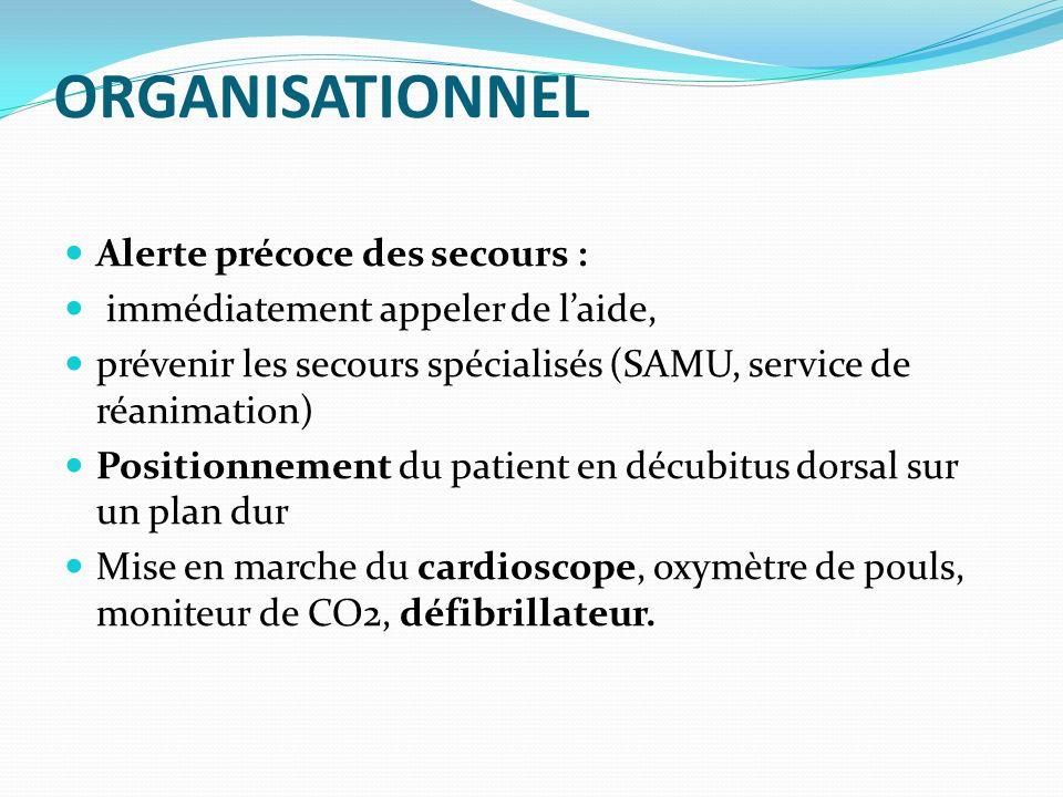 ORGANISATIONNEL Alerte précoce des secours : immédiatement appeler de laide, prévenir les secours spécialisés (SAMU, service de réanimation) Positionn