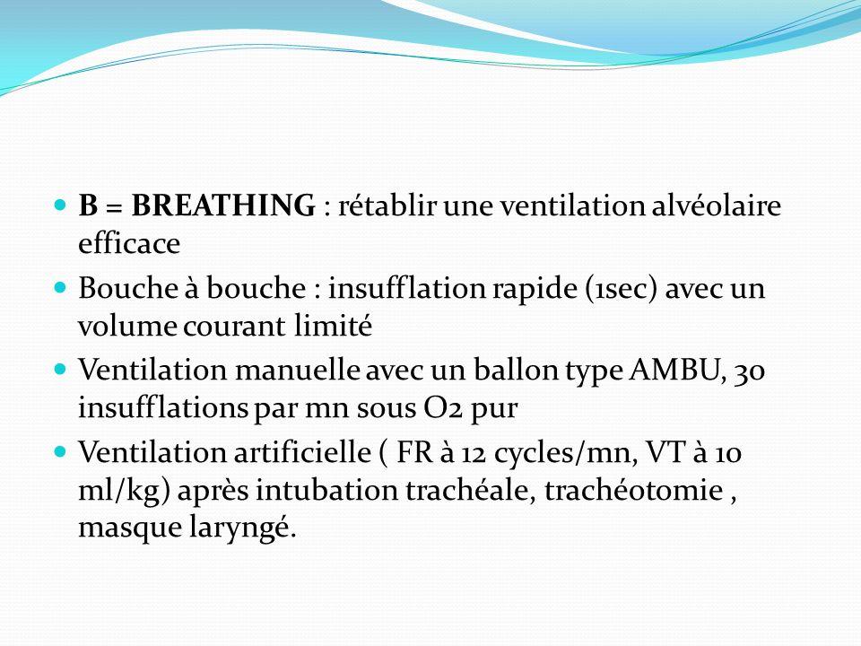 B = BREATHING : rétablir une ventilation alvéolaire efficace Bouche à bouche : insufflation rapide (1sec) avec un volume courant limité Ventilation ma