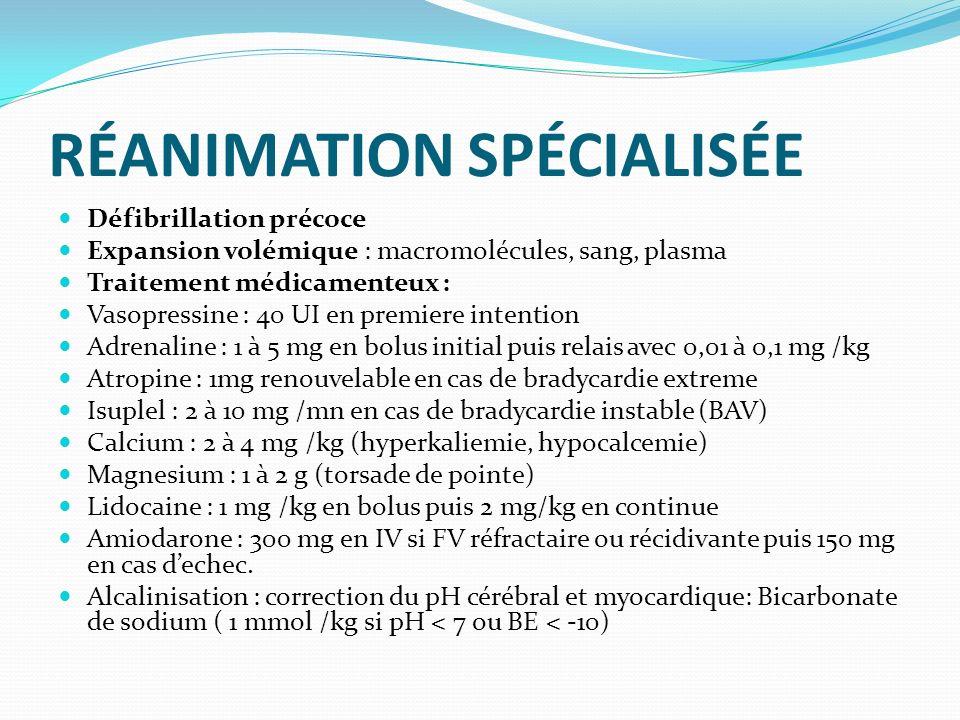 RÉANIMATION SPÉCIALISÉE Défibrillation précoce Expansion volémique : macromolécules, sang, plasma Traitement médicamenteux : Vasopressine : 40 UI en p