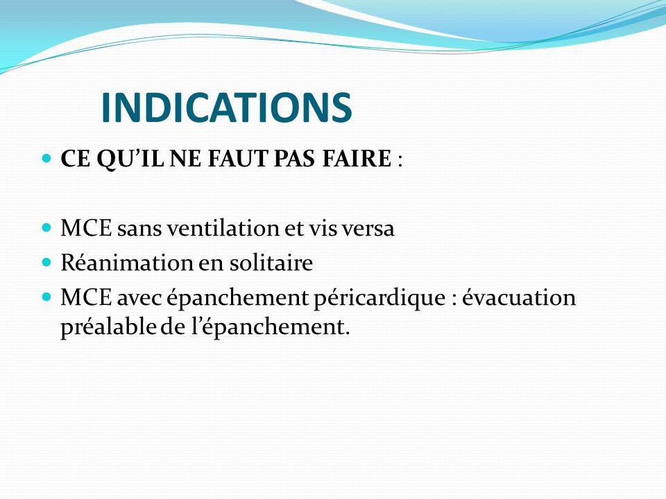 INDICATIONS CE QUIL NE FAUT PAS FAIRE : MCE sans ventilation et vis versa Réanimation en solitaire MCE avec épanchement péricardique : évacuation préa