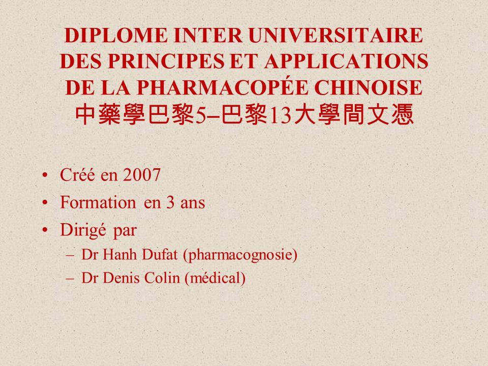 DIPLOME INTER UNIVERSITAIRE DES PRINCIPES ET APPLICATIONS DE LA PHARMACOPÉE CHINOISE 5 – 13 Créé en 2007 Formation en 3 ans Dirigé par –Dr Hanh Dufat