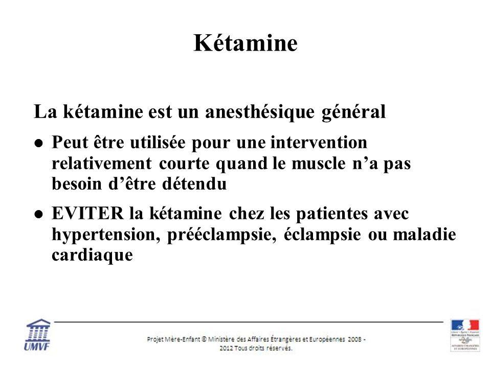 11 Kétamine La kétamine est un anesthésique général Peut être utilisée pour une intervention relativement courte quand le muscle na pas besoin dêtre détendu EVITER la kétamine chez les patientes avec hypertension, prééclampsie, éclampsie ou maladie cardiaque