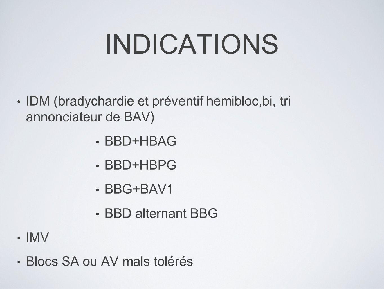 INDICATIONS IDM (bradychardie et préventif hemibloc,bi, tri annonciateur de BAV) BBD+HBAG BBD+HBPG BBG+BAV1 BBD alternant BBG IMV Blocs SA ou AV mals