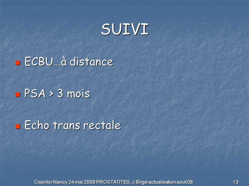Cisprilor Nancy 24 mai 2008 PROSTATITES. J.Birgé actualisation aout 08 13 SUIVI ECBU…à distance ECBU…à distance PSA > 3 mois PSA > 3 mois Echo trans r