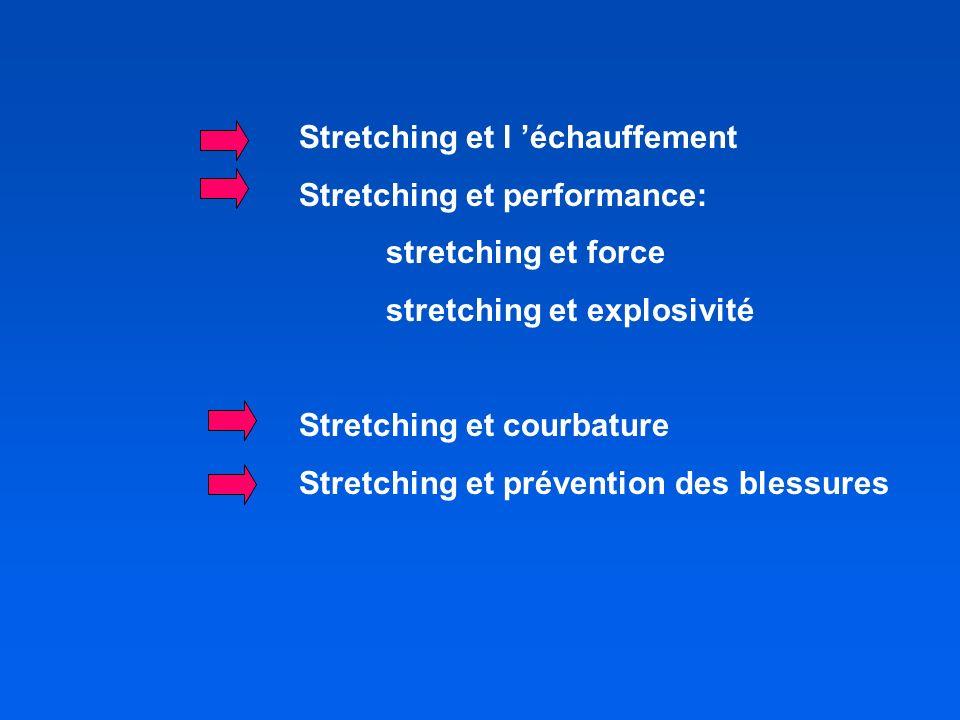 Stretching et l échauffement Stretching et performance: stretching et force stretching et explosivité Stretching et courbature Stretching et prévention des blessures