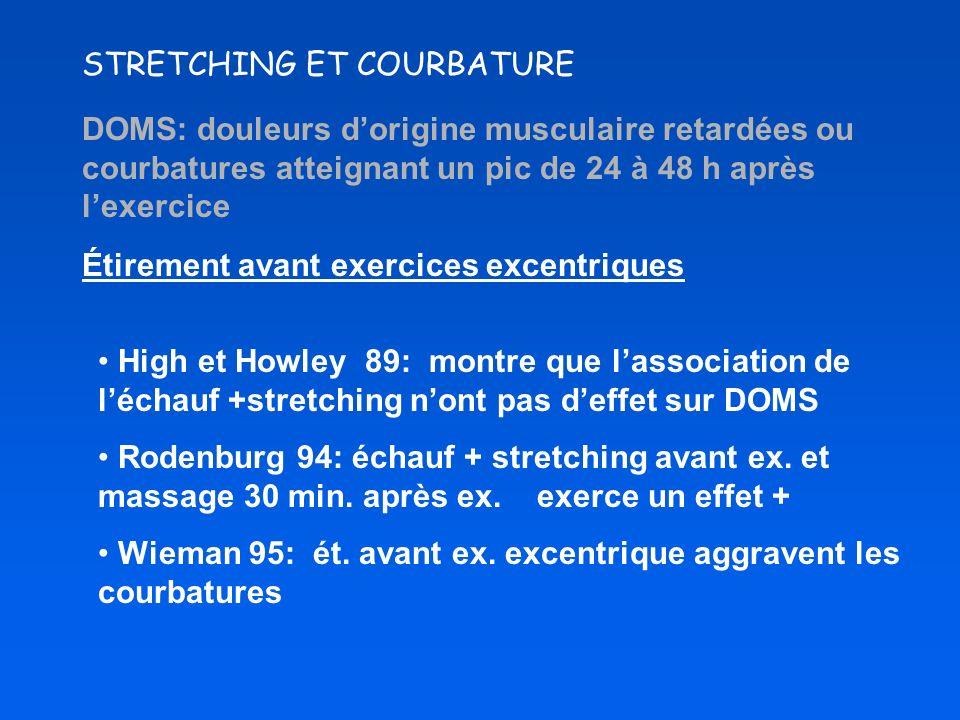 STRETCHING ET COURBATURE DOMS: douleurs dorigine musculaire retardées ou courbatures atteignant un pic de 24 à 48 h après lexercice Étirement avant ex