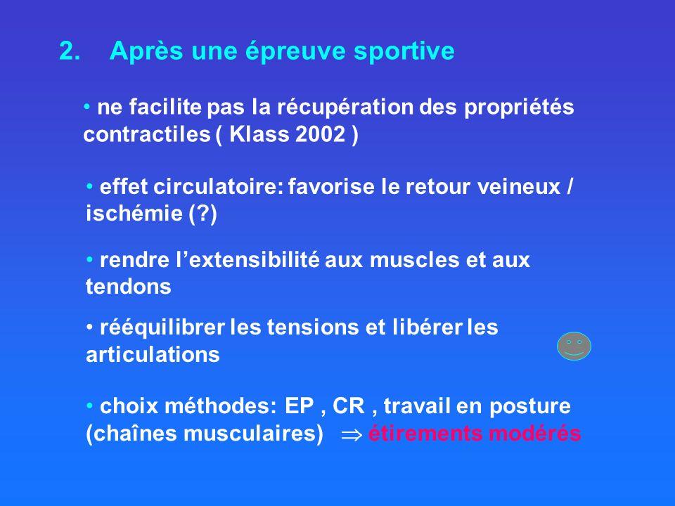 2. Après une épreuve sportive ne facilite pas la récupération des propriétés contractiles ( Klass 2002 ) choix méthodes: EP, CR, travail en posture (c