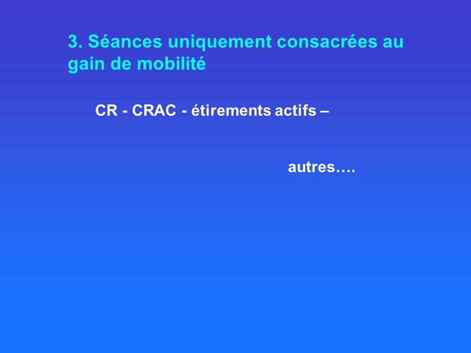 3. Séances uniquement consacrées au gain de mobilité CR - CRAC - étirements actifs – autres….