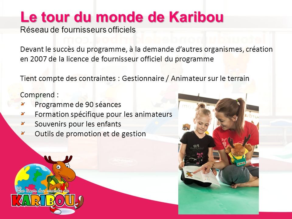 Le tour du monde de Karibou Réseau de fournisseurs officiels Devant le succès du programme, à la demande dautres organismes, création en 2007 de la li