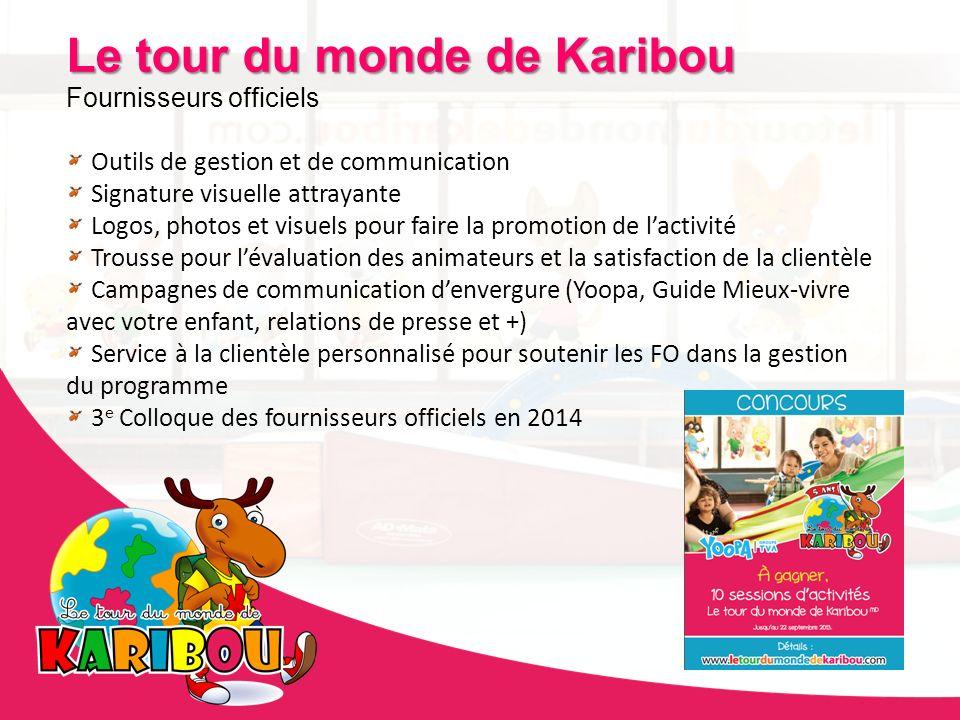 Le tour du monde de Karibou Fournisseurs officiels Outils de gestion et de communication Signature visuelle attrayante Logos, photos et visuels pour f