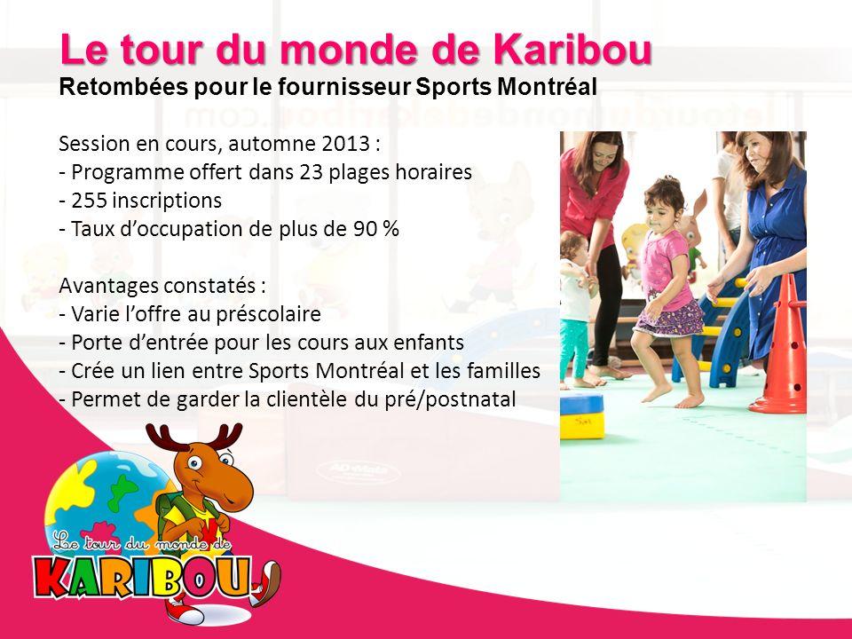 Le tour du monde de Karibou Retombées pour le fournisseur Sports Montréal Session en cours, automne 2013 : - Programme offert dans 23 plages horaires