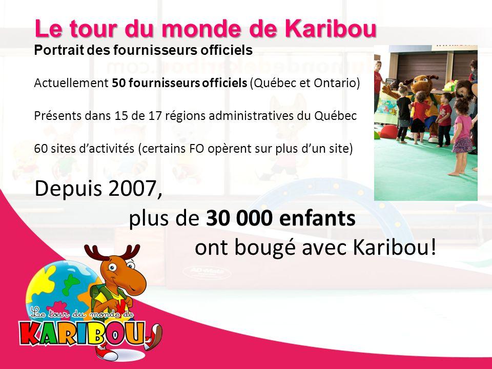 Le tour du monde de Karibou Portrait des fournisseurs officiels Actuellement 50 fournisseurs officiels (Québec et Ontario) Présents dans 15 de 17 régi