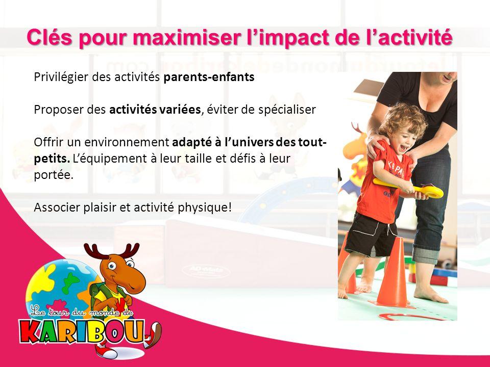 Privilégier des activités parents-enfants Proposer des activités variées, éviter de spécialiser Offrir un environnement adapté à lunivers des tout- pe
