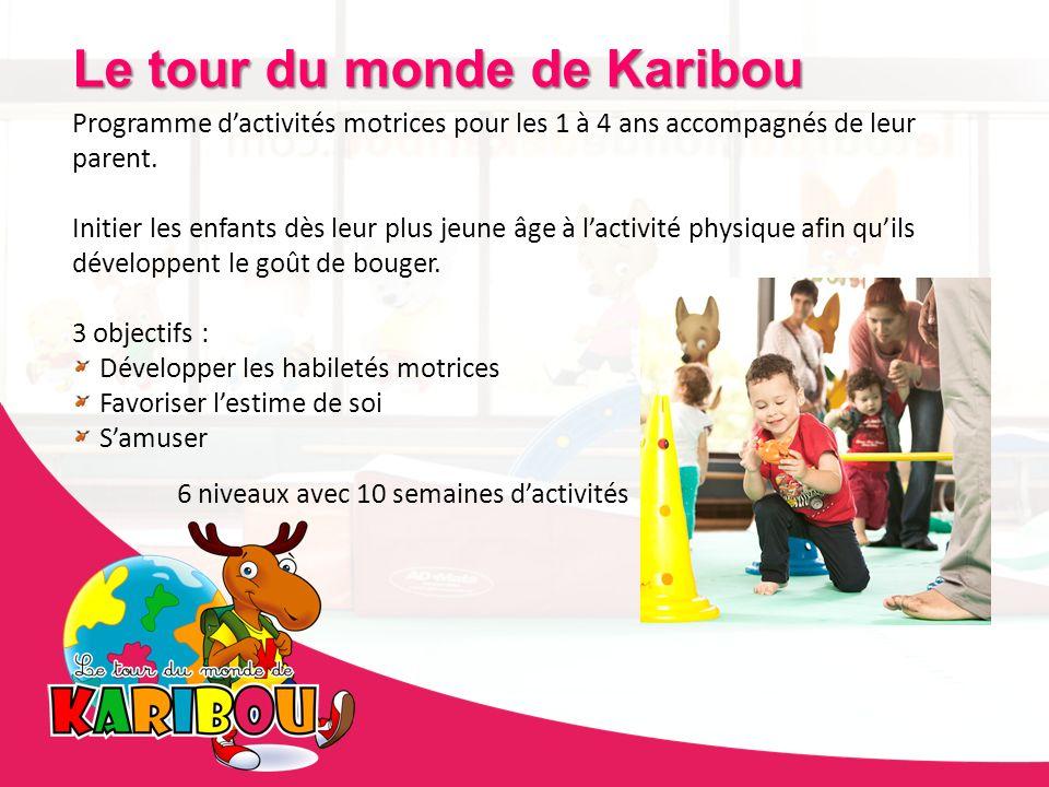 Offre 6 niveaux pour adapter les activités aux capacités motrices de lenfant + 3 options Renards débrouillards (Danse, soccer et basket-ball) Le tour du monde de Karibou