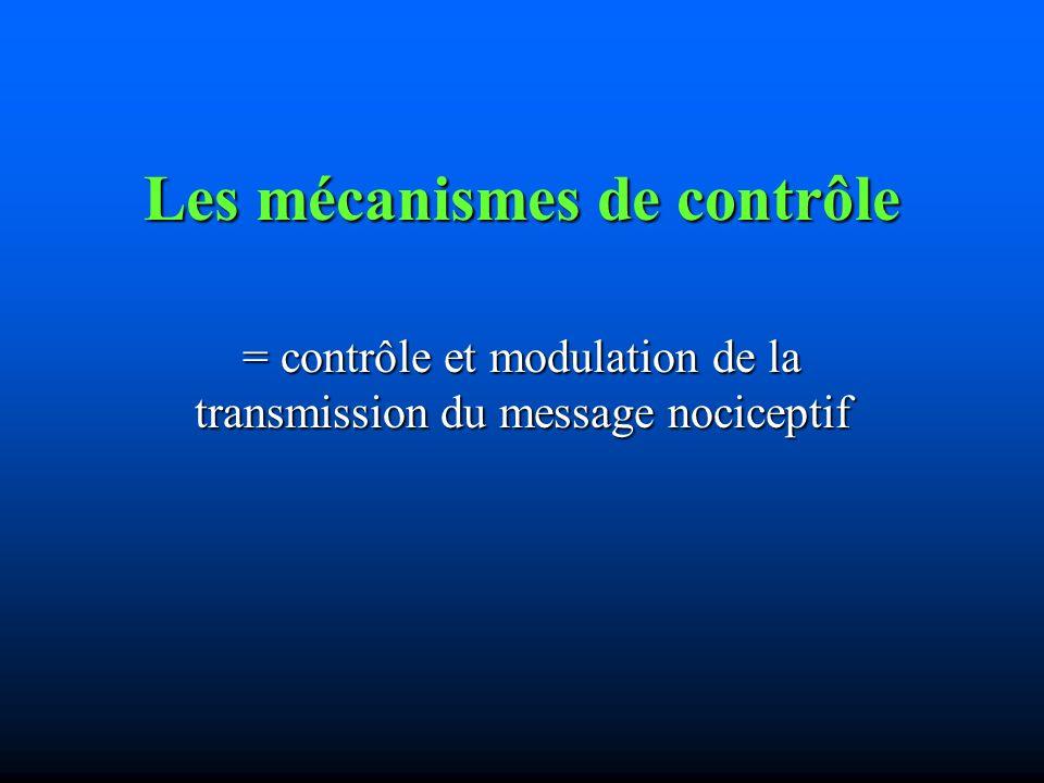 Les mécanismes de contrôle = contrôle et modulation de la transmission du message nociceptif