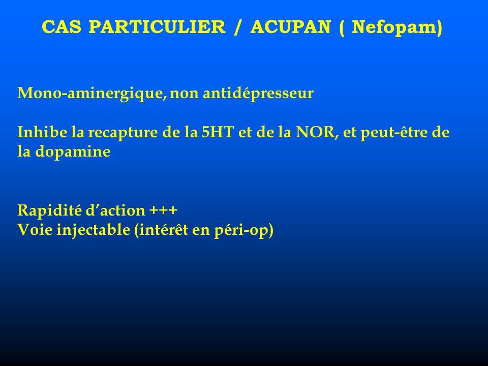 CAS PARTICULIER / ACUPAN ( Nefopam) Mono-aminergique, non antidépresseur Inhibe la recapture de la 5HT et de la NOR, et peut-être de la dopamine Rapidité daction +++ Voie injectable (intérêt en péri-op)